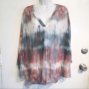 Plus Size ANA Tie Dye Watercolor Blouse